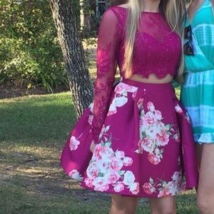 Sherri Hill: pink floral & lace Homecoming dress